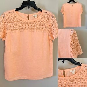 J. Crew Peach Blouse With Knit Design on Top